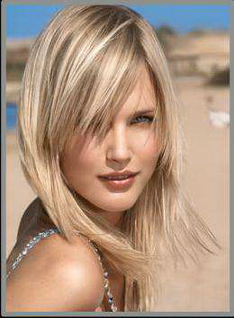 Blonde highlights with dark under - Coup de cheveux mi long ...